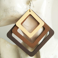 Fashion European square wood combination African Dope Wood Earrings Jewelry