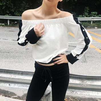 2017 Autumn and Winter New Long-sleeved T-shirt Feminine Sense of The Word Shoulder Button Stripe Color Loose Ms. Blouse