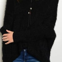 Chain Link Detail Fuzzy Sweater - Black