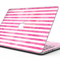 the Grungy Pink Watercolor with Horizontal Lines - MacBook Pro with Retina Display Full-Coverage Skin Kit