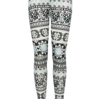 Full Tilt Medallion Geo Print Girls Leggings Black/Multi  In Sizes