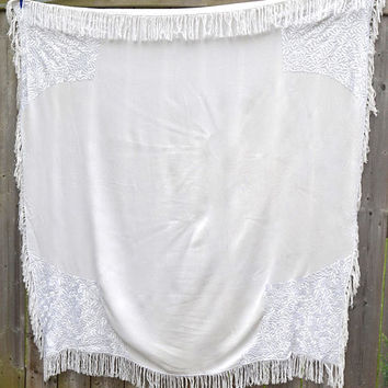 "Off White Fringed Tablecloth,56.7"" x 54""  Table Cover, Throw, Piano Shawl, Wrap,Christening Shawl,Boho Decor,Vintage Linens,Wedding Decor"