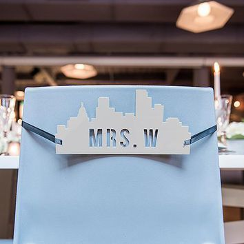 Personalized Industrial Cityscape Silhouette White Acrylic Wedding Chair Signs (Pack of 2)