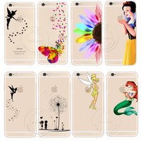 Tinker Bell Butterfly Cat Snow White Little Mermaid Cartoon Cute Design Case Cover For Apple iPhone 4 4S 5 5S 5C 6 6S 6 Plus
