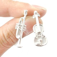 Musical Instrument Themed Violin and Trumpet Shaped Stud Earrings in Silver