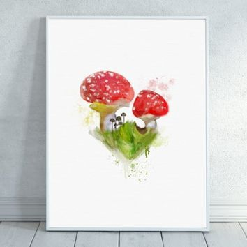 Wild Mushrooms, Red Mushroom, Mushroom Watercolor, Mushroom Painting, Forest Watercolor, Wilderness, Adventure, Woodland,  Forest,Nature
