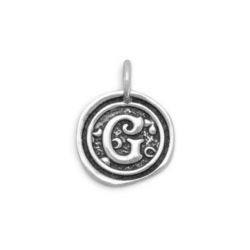 "Oxidized Initial ""G"" Pendant"