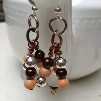 Dangle Earrings -Peach and Copper Beaded Drops