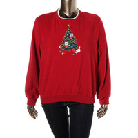 Alfred Dunner Womens Fleece Appliqued Pullover Sweater