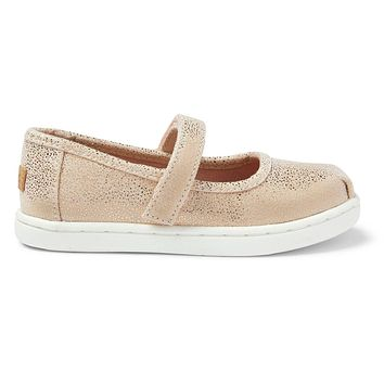 TOMS - Tiny Mary Jane Rose Gold Iridescent Droplets Flats