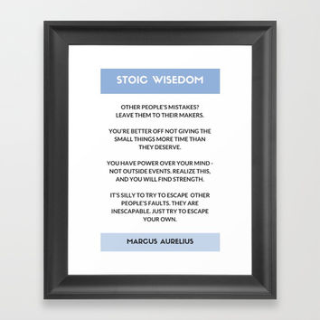 STOIC PHILOSOPHY WISDOM - MARCUS AURELIUS  QUOTES Framed Art Print by Love from Sophie