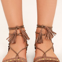Dharma Taupe Suede Studded Lace-Up Sandals