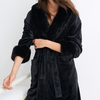 Buy Black Faux Fur Collar Robe from the Next UK online shop