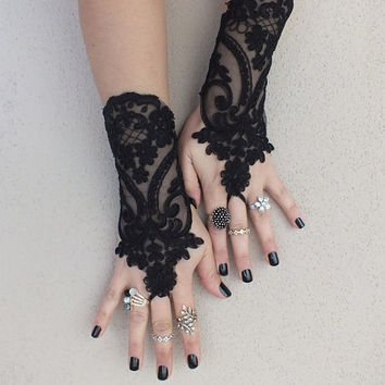 Black lace gloves french lace bridal gloves, ''High Quality Lace Gloves'' fingerless gloves black gloves burlesque glove guantes free ship