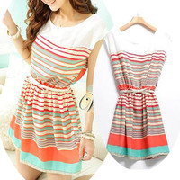 New Fashion Korean Womens Summer Chiffon Dress With Belt O
