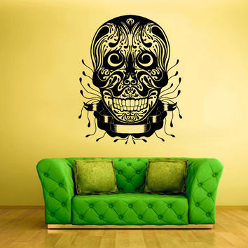 Wall Decal Mural Sticker Beautyfull Cute Sugar Skull Bedroom Curly Menhdi fashion (z2056)