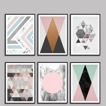 Nordic Modern Geometric Abstract Painting Photo Wall Pictures For Living Room De