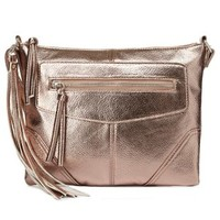 Champagne Metallic Tassel Cross-Body Bag by Charlotte Russe