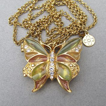 Liz Claiborne Vintage Plique a Jour Stained Glass Rhinestone Butterfly Locket Long Necklace