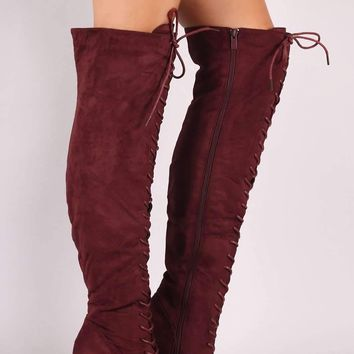 Suede Lace-Up Chunky Heeled Over-The-Knee Boots