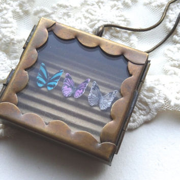 1- Butterfly Specimen Necklace Hand Made One of a Kind Insect Shadow Box Miniature Butterflies in Glass Locket PeculiarCollective Necklace