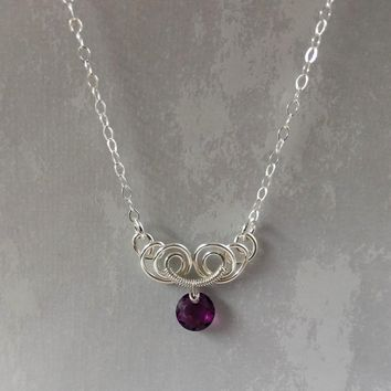 Silver Wire Sculpted Round Purple Amethyst Crystal Pendant Necklace