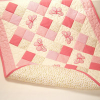 baby quilt custom baby quilt modern patchwork baby quilt salmon cream butterfly