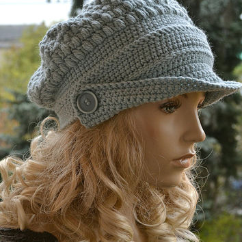 Crocheted  beanie Slouchy Hat  PEAKED CAP Winter Fashion , very warm, mint , women slouchy hat,Girls Hat,unique gifts