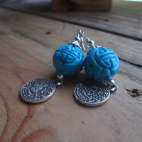 Carved Turquoise, Dangle Earrings, Asian Style, Replica, Coin Earrings, Blue Stone, Silver, Temple Earrings