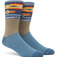 On The Byas Ethnic Block Crew Socks - Mens Socks - Yellow/Blue - One