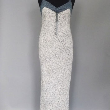 Vintage 1990s does 70s Boho White Polka Dot Floral Maxi Dress Country Peasant Tank Dress Indie Chick Hipster Grunge Folk 1930s Lawn Dress