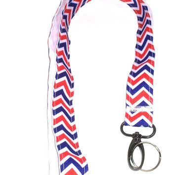 Patriot Ribbon Lanyard, Id holder, handmade, Military, red, white and blue