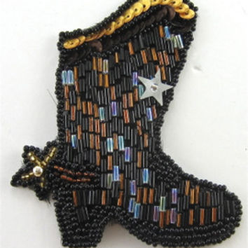 "Cowboy Boot All Beaded with Star 3.5"" x 3"""