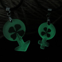 Male and female symbols glowing couple necklace,His and Her Necklaces, Necklace Pendant, Matching couple necklace