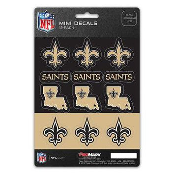 Licensed Official New NFL New Orleans Saints Die-Cut Premium Vinyl Mini Decal / Sticker Pack