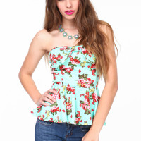 FLORAL BOW BUSTIER TOP
