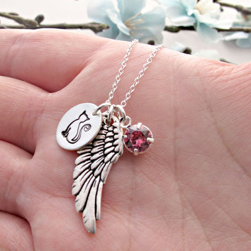 Cat Remembrance Necklace, Pet Loss Necklace, Cat Necklace, Angel Wing, Personalized Birthstone, Hand Stamped Jewelry, Memorial Necklace