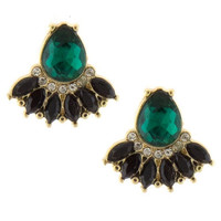 Fancy Jewel Comet Stud Earrings - Green/Black or Taupe/Blue