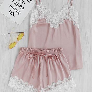 Lace Trim Satin Cami And Shorts Pajama Set PINK