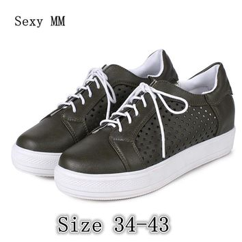 Summer Lace Up Shoes Women Oxfords Shoes Loafers Flats Woman Casual Flat Shoes High Quality Plus Size 34 - 40 41 42 43