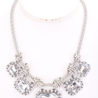 Silver Squared Rhinestone Design Hoop Rhinestone Accent Mesh Necklace