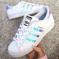 Adidas Women Reflective Flats Sneakers Sport Shoes