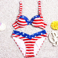 American Flag Pattern Printed Swimwear Women Bikini Set