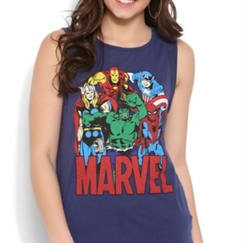 High Low Mesh Tank Top with Marvel Comics Screen