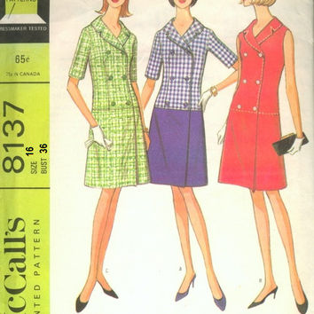 McCall's 8137 Sewing Pattern 60s Mad Men Style Retro Drop Waist Dress Double Breasted Button Front Notched Collar Uncut FF Bust 36