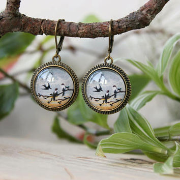 Vintage Swifts on a Branch | Antique Bronze Earrings | Glass Dome Earrings | Dangle Earrings | Personalized Gift