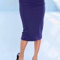 ROYAL BLUE MIDI PENCIL SKIRT