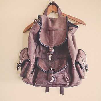 Vintage 90's Backpack Leather Zipper Back Pack with Leather Cover RuckSack Hiking Seattle Style Portland Style