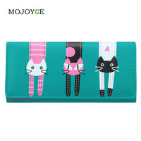 Lovely Candy Color PU Leather Wallet Women Cartoon Cat Printed Portfolio Wallet Women Luxury  Clutch Purse Card Holde  SN9