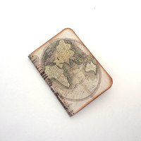 Antique World Map Jotter - Travel Mini Journal - Geography - Atlas Notepad - Small Globe Notebook - Travel Gifts